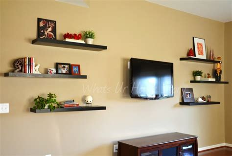 floating shelves around tv the family room the other half whats ur home story