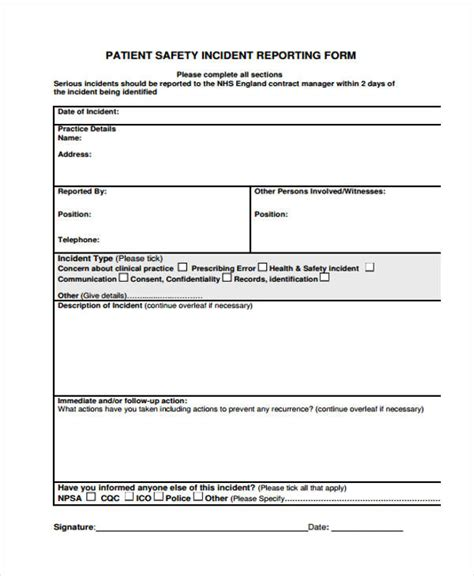 serious incident report template incident report form images