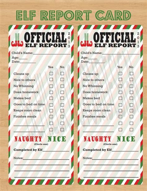 free printable elf report printable elf on the shelf report card the elf on