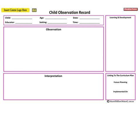 printable eylf templates anecdotal record aussie childcare network