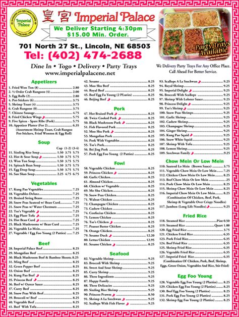 imperial palace lincoln ne menu imperial palace lincoln ne 68503 yellowbook