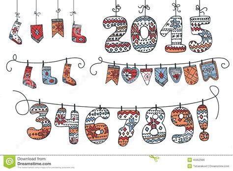 new year bunting vector garland of knitted figures flags socks stock