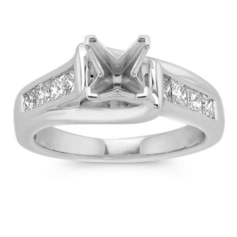 cathedral princess cut engagement ring with channel
