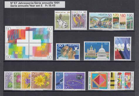 Portokosten Brief Schweiz Schweiz Briefmarken Jahrgang 1991 Komplett Postfrisch Ebay