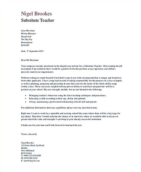 sle substitute resume cover letter substitute cover letter in pdf teaching cover letter exles for successful