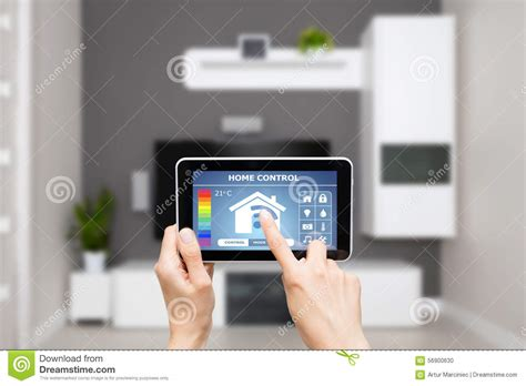 remote home system on a digital tablet stock