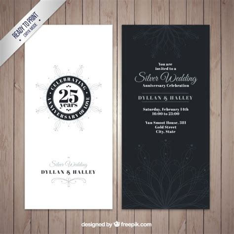Silver Wedding Anniversary Free To by Silver Wedding Anniversary Invitation Vector