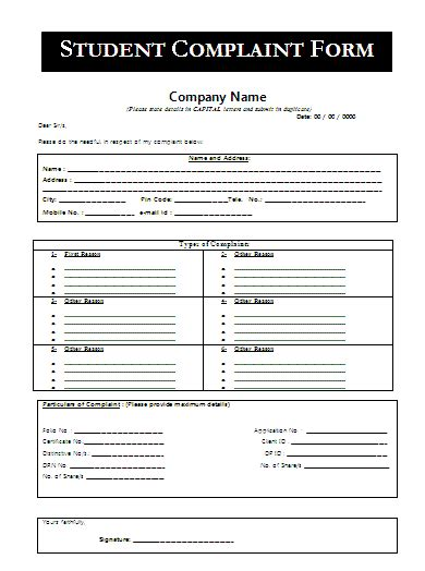 student complaint form a to z free printable sle forms