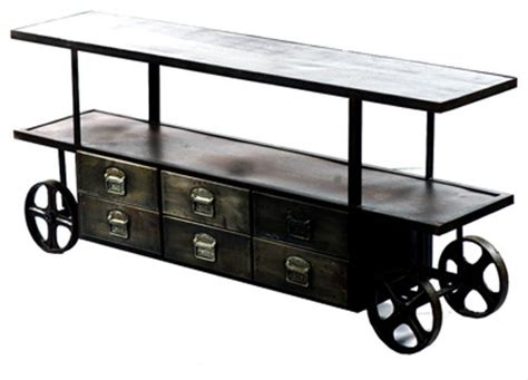 entertainment center on wheels shop houzz artefac industrial media stand on wheels with