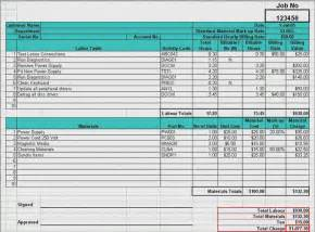 material cost estimator labor materials cost estimator sheet