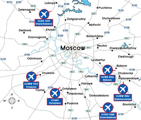 map of with airports airports in moscow
