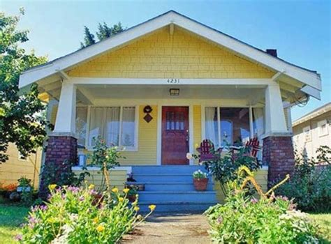 buttercup yellow house with door welcome