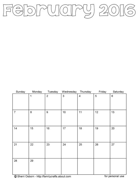 Blank February 2016 Calendar Printable February 2016 Calendars Favorites