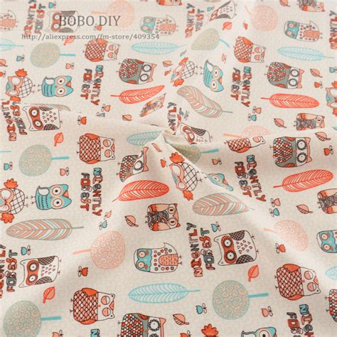 100 Cotton Fabric For Quilting by Aliexpress Buy 1 Meter Orange Owls Printed 100