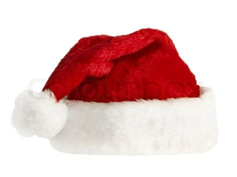 isolated fluffy red santa s hat over white stock photo