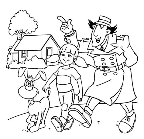 walking dog coloring page inspector gadget penny and dog walking coloring pages for