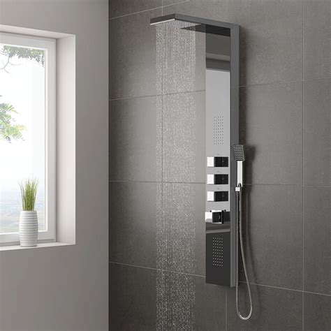 milan modern dark chrome tower shower panel