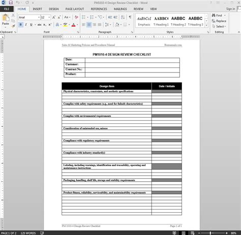 engineering specification template product design review checklist template