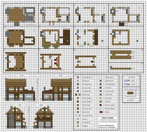 blueprint designs poppy cottage medium minecraft house blueprints by