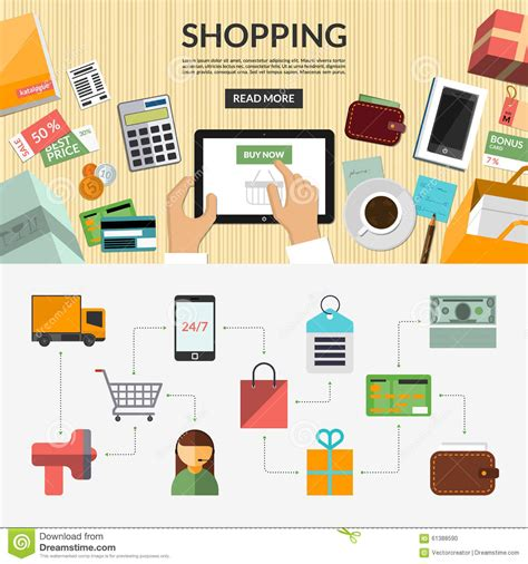 design your background online online shopping flat concept background banner stock