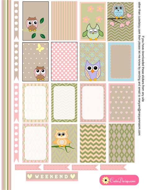 happy planner free printable stickers free printable owl stickers for planner
