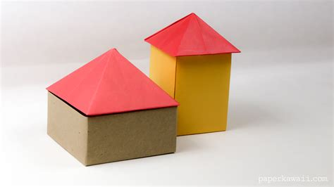 Folded Paper House - origami square pyramid house lid paper kawaii