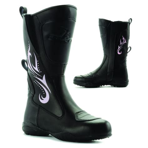 ladies black motorcycle boots blytz ladies waterproof leather motorbike womens