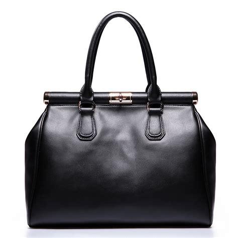 Handbag Black classic genuine leather handbag black