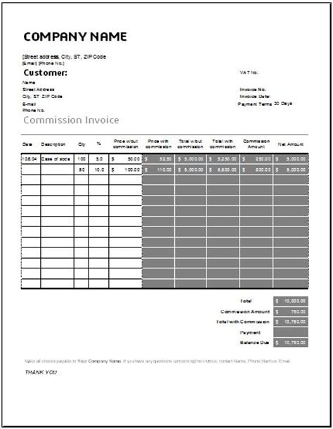 commission invoice template commission invoice template for excel word excel templates