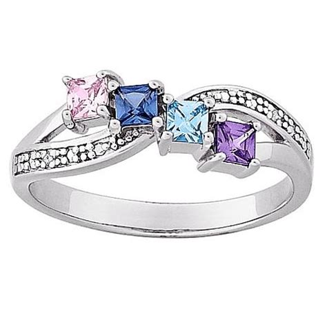 mothers birthstone rings s square family birthstone and accented ring 10063242 hsn