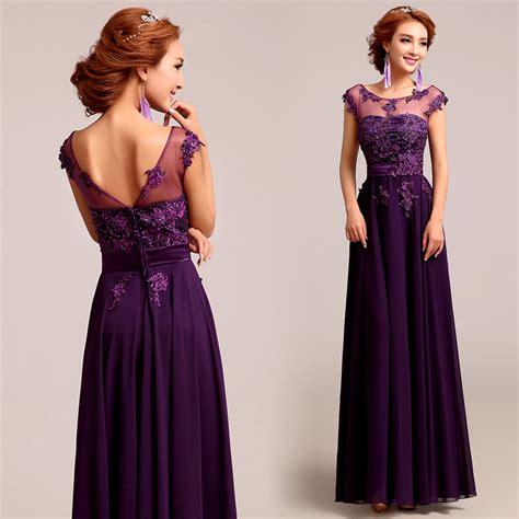 Iqlima Dress M 96 L 98 bateau neck plum purple chiffon lace a line evening