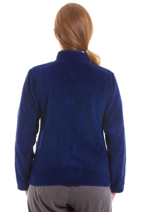 womens bedding womens zip front blue soft fleece bed jacket