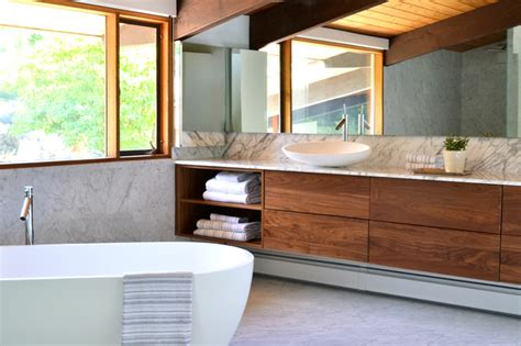 Shower Bath Tub mid century modern deck house master suite midcentury