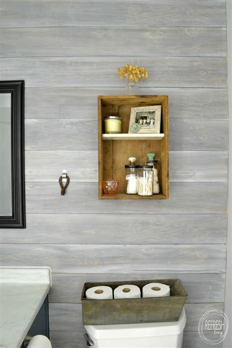 whitewash bathroom budget renovation install your own planked wall refresh