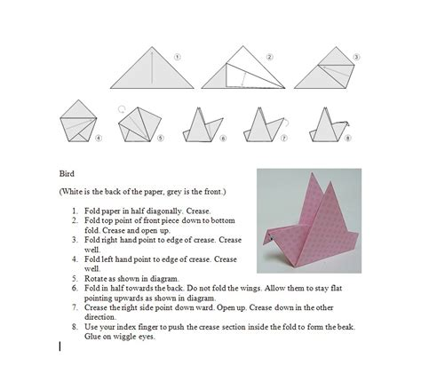 Origami Bird Directions - a baloo crew june 2014