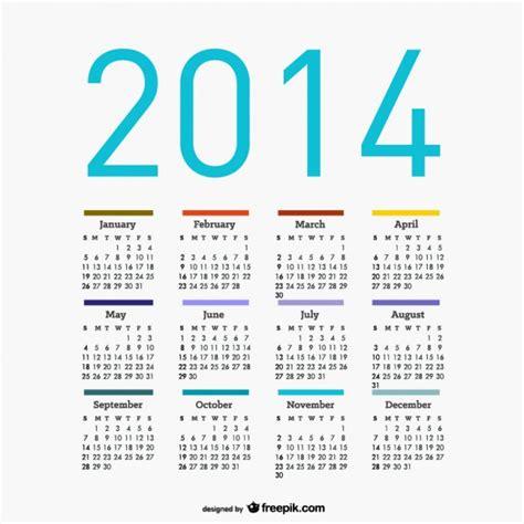Calendario Colombia 2014 Calendario 2014 Descargar Vectores Gratis