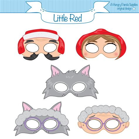 Printable Masks For Little Red Riding Hood | little red riding hood printable masks red riding hood wolf