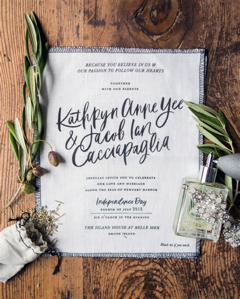 modern calligraphy fabric wedding invitations
