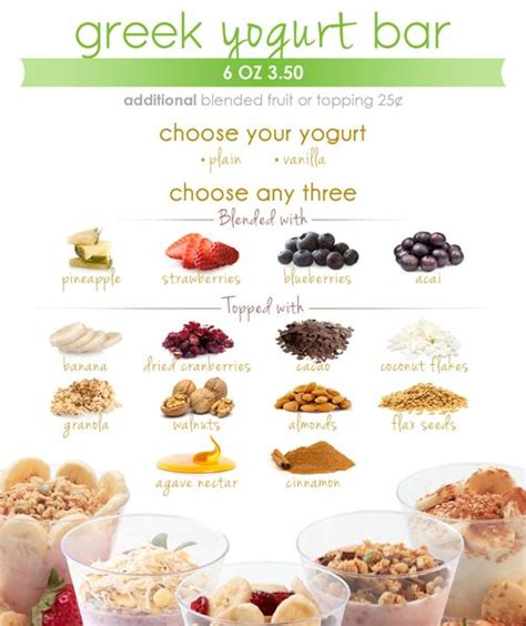 yogurt bar toppings yogurt bar menu shake smart healthy foods pinterest
