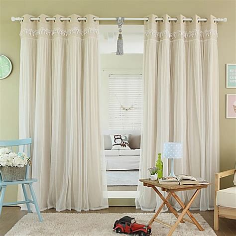 blackout and sheer curtains buy decorinnovation sheer overlay 84 inch grommet top