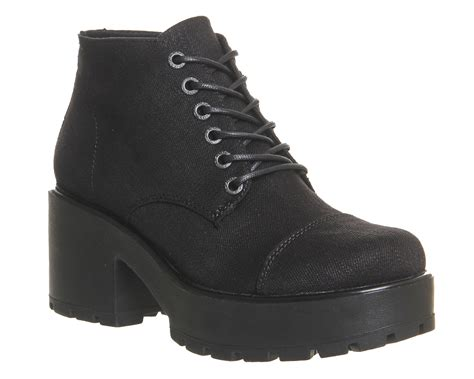 womens vagabond dioon lace up boots black canvas boots ebay
