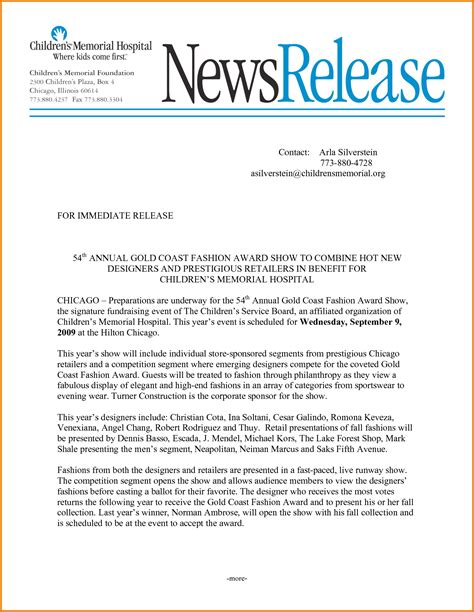 template of a press release 8 fashion press release template financial statement form