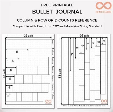 printable bullet journal guide bullet journal column and row grid counts reference free