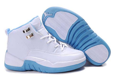jordans shoes for kid children air 12 white cambridge blue shoes