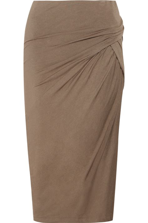 donna karan stretch jersey pencil skirt in brown lyst