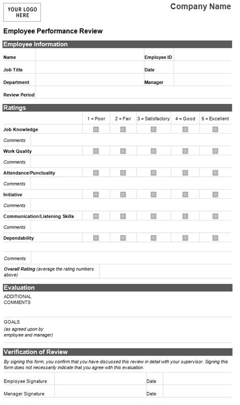 Evaluation Card Template by Employee Evaluation Template Employee Performance