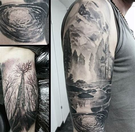 shaded tattoo sleeve designs 40 lake designs for nature ink ideas
