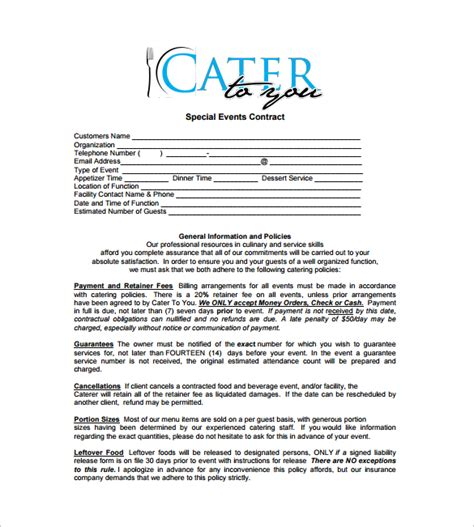 catering contract template catering contract template 13 free documents