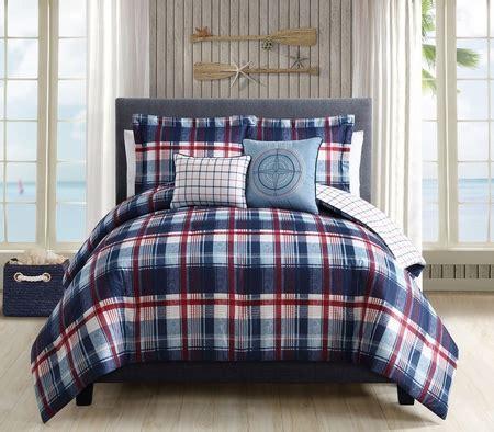 navy plaid comforter 5 piece breezy plaid navy red reversible comforter set