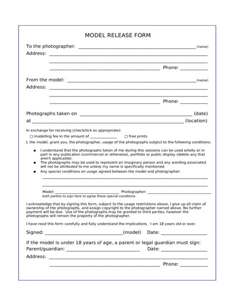 Model Release Form Template Free Download Model Photo Release Form Template